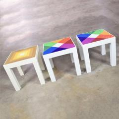 Kartell Trio of mod pop art plastic parsons style square side tables style kartell - 1598503