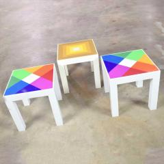 Kartell Trio of mod pop art plastic parsons style square side tables style kartell - 1598504