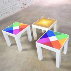 Kartell Trio of mod pop art plastic parsons style square side tables style kartell - 1598505