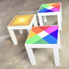 Kartell Trio of mod pop art plastic parsons style square side tables style kartell - 1598506
