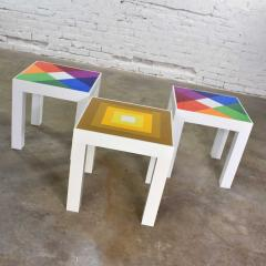 Kartell Trio of mod pop art plastic parsons style square side tables style kartell - 1598507