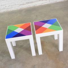 Kartell Trio of mod pop art plastic parsons style square side tables style kartell - 1598509
