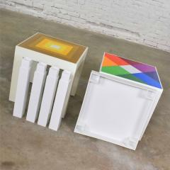 Kartell Trio of mod pop art plastic parsons style square side tables style kartell - 1598516