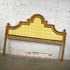 Kessler Industries Inc Hollywood regency king headboard of gilded cast aluminum tufted yellow velvet - 1639628