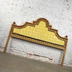Kessler Industries Inc Hollywood regency king headboard of gilded cast aluminum tufted yellow velvet - 1639629