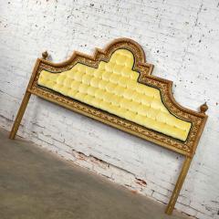 Kessler Industries Inc Hollywood regency king headboard of gilded cast aluminum tufted yellow velvet - 1639630