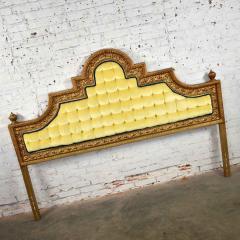 Kessler Industries Inc Hollywood regency king headboard of gilded cast aluminum tufted yellow velvet - 1639631