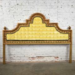 Kessler Industries Inc Hollywood regency king headboard of gilded cast aluminum tufted yellow velvet - 1639632