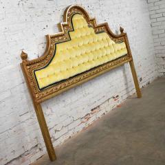 Kessler Industries Inc Hollywood regency king headboard of gilded cast aluminum tufted yellow velvet - 1639646
