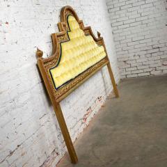 Kessler Industries Inc Hollywood regency king headboard of gilded cast aluminum tufted yellow velvet - 1639649