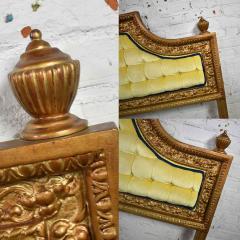 Kessler Industries Inc Hollywood regency king headboard of gilded cast aluminum tufted yellow velvet - 1639650