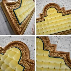 Kessler Industries Inc Hollywood regency king headboard of gilded cast aluminum tufted yellow velvet - 1639656