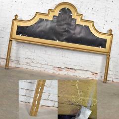 Kessler Industries Inc Hollywood regency king headboard of gilded cast aluminum tufted yellow velvet - 1639677