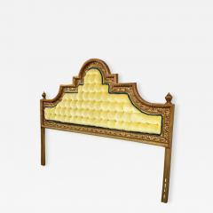 Kessler Industries Inc Hollywood regency king headboard of gilded cast aluminum tufted yellow velvet - 1640698