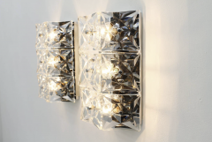 Kinkeldey Crystal Glass Wall Sconces Glass Lights by Kinkeldey circa 1960s - 1858227