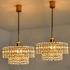 Kinkeldey Pair Of Gold plated Kinkeldey Crystal Glass Chandeliers 1960s - 1336456