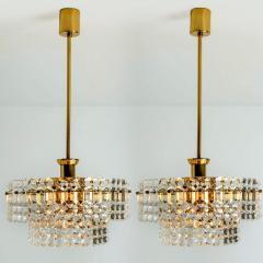 Kinkeldey Pair Of Gold plated Kinkeldey Crystal Glass Chandeliers 1960s - 1336464