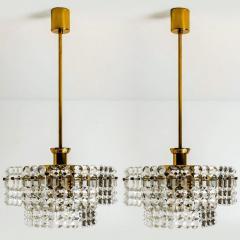 Kinkeldey Pair Of Gold plated Kinkeldey Crystal Glass Chandeliers 1960s - 1336465