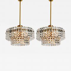 Kinkeldey Pair Of Gold plated Kinkeldey Crystal Glass Chandeliers 1960s - 1344390
