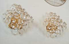 Kinkeldey Pair of Substantial Gold Plate Sconces with Large Geometric Crystals - 1826667