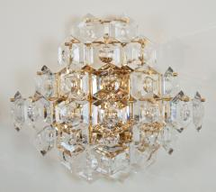 Kinkeldey Pair of Substantial Gold Plate Sconces with Large Geometric Crystals - 1826668