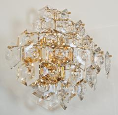 Kinkeldey Pair of Substantial Gold Plate Sconces with Large Geometric Crystals - 1826671