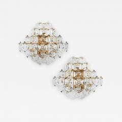Kinkeldey Pair of Substantial Gold Plate Sconces with Large Geometric Crystals - 1827170