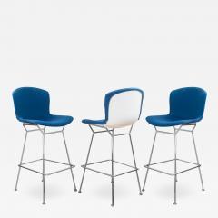 Knoll Bertoia Upholstered Barstools in Fiberglass KnollTextiles Fabric Set of 3 - 2013107
