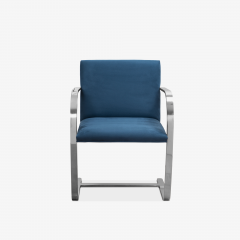 Knoll Brno Flat Bar Chairs in Navy Ultrasuede by Mies van der Rohe for Knoll Set of 8 - 1775663