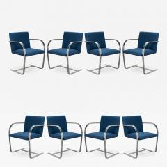Knoll Brno Flat Bar Chairs in Navy Ultrasuede by Mies van der Rohe for Knoll Set of 8 - 1776086