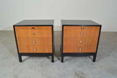 Knoll Mid Century Florence Knoll Style Lacquered Case Nightstands Cabinets in Walnut - 1972466