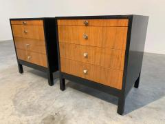 Knoll Mid Century Florence Knoll Style Lacquered Case Nightstands Cabinets in Walnut - 1972467