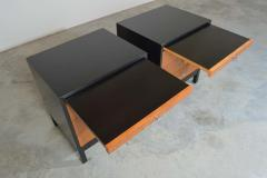 Knoll Mid Century Florence Knoll Style Lacquered Case Nightstands Cabinets in Walnut - 1972468