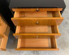 Knoll Mid Century Florence Knoll Style Lacquered Case Nightstands Cabinets in Walnut - 1972470