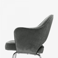 Knoll Saarinen Executive Arm Chairs in Graphite Velvet for Knoll Set of 6 - 2076692