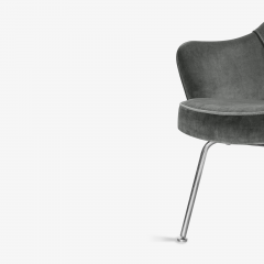 Knoll Saarinen Executive Arm Chairs in Graphite Velvet for Knoll Set of 6 - 2076693