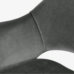 Knoll Saarinen Executive Arm Chairs in Graphite Velvet for Knoll Set of 6 - 2076694