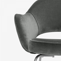 Knoll Saarinen Executive Arm Chairs in Graphite Velvet for Knoll Set of 6 - 2076695