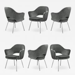 Knoll Saarinen Executive Arm Chairs in Graphite Velvet for Knoll Set of 6 - 2077791