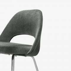 Knoll Saarinen Executive Armless Chairs for Knoll in Graphite Velvet by Set of 6 - 2076676