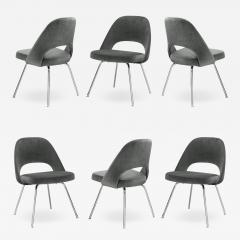 Knoll Saarinen Executive Armless Chairs for Knoll in Graphite Velvet by Set of 6 - 2077792