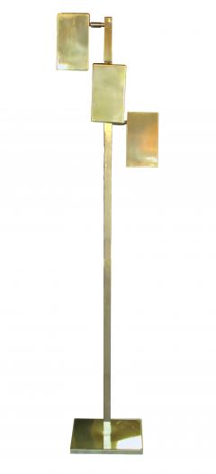 Koch Lowy A Sleek American Koch and Lowy 3 Light Brass Floor Lamp - 389991