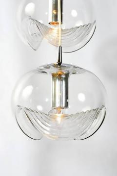 Koch Lowy Koch Lowy Chrome and Blown Glass Triple Pendant Fixture - 797383