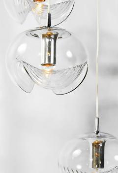 Koch Lowy Koch Lowy Chrome and Blown Glass Triple Pendant Fixture - 797384