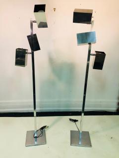 Koch Lowy Pair of Koch Lowy Modernist Polished Chrome Floor Lamps - 739209