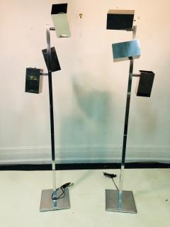 Koch Lowy Pair of Koch Lowy Modernist Polished Chrome Floor Lamps - 739210