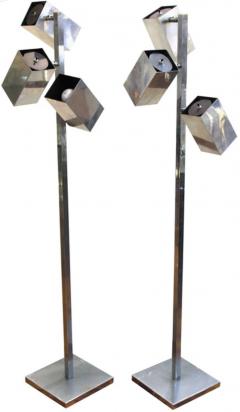 Koch Lowy Pair of Koch Lowy Modernist Polished Chrome Floor Lamps - 739220
