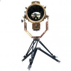 Koito Ltd Copper Brass 1980s Koito Searchlight on British MOD Tripod - 1117535