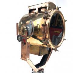 Koito Ltd Copper Brass 1980s Koito Searchlight on British MOD Tripod - 1117545