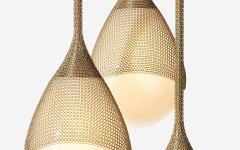 Konekt Armor Pendant Light in Satin Brass with Hand Blown Glass and Chainmail - 957675